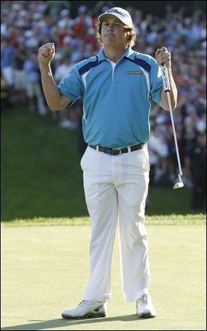 Jason Dufner celebrates after winning the PGA Championship on Sunday at Oak Hill Country Club in Pittsford, N.Y.