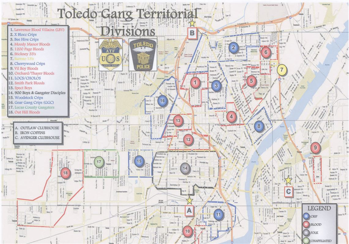 Lucas Ohio Map.The Blade Obtains Toledo Police Department S Gang Territorial