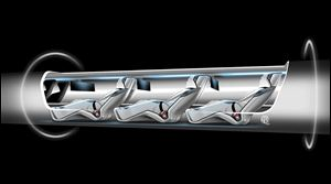 In a sketch released of a proposed 'Hyperloop' passengers inside a tube would recline as the capsule travels at more than 700 mph. Entrepreneur Elon Musk said the capsule would never crash.