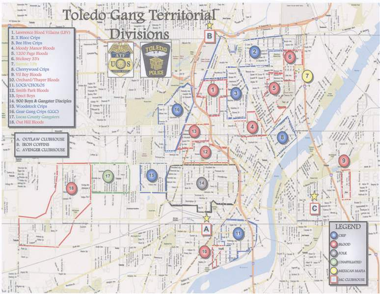 The Blade obtains Toledo Police Departments Gang Territorial