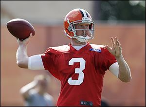 Brandon Weeden has been sharp in training camp, but has yet to win the Browns' starting quarterback job.