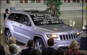 Chrysler Group employees watch as the automaker shows off a Jeep Grand Cherokee, the 5 millionth vehicle produced at the Jefferson North Assembly Plant.  The Tuesday event marked a milestone i