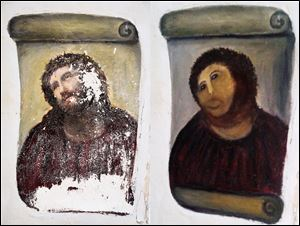 The 20th century Ecce Homo-style fresco of Christ , left and the 'restored' version, at right