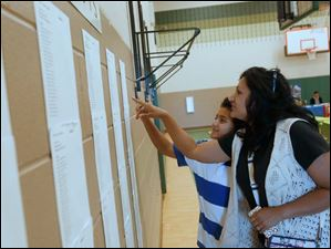 Zach Mavrommatis, 11, left, and his mother, Mona Malik take a look at Zach's class list during orientation at Central Trail Elementary School in Sylvania.