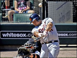 Detroit's Miguel Cabrera hits a three-run home run in the third inning. Cabrera has 38 home runs and 114 RBIs.