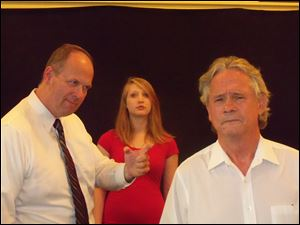 From left, are David P. Wahr, Alex Carone, and Norb Nowak in a scene from the Monroe Community Players Underground production of 'Clara.'