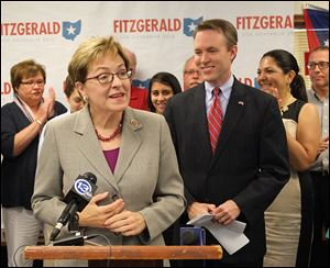U.S. Rep. Marcy Kaptur endorses fellow Democrat Ed FitzGerald for governor during his visit to the party headquarters in Toledo.
