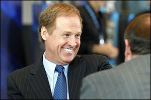 Sprint Cup champion Rusty Wallace smiles after being elected to the NASCAR Hall of Fame, Wednesday, May 23, 2012, in Charlotte, N.C.