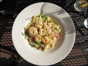 Jumbo Shrimp Picatta Scampi at Forrester's on the River, located at the Docks.