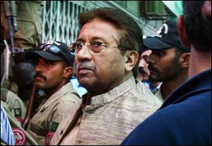 Pakistan's former President and military ruler Pervez Musharraf arrives at an anti-terrorism court in Islamabad, Pakistan, in April.
