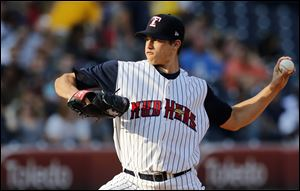 Toledo Mud Hens pitcher Kyle Lobstein throws against  Gwinnett.