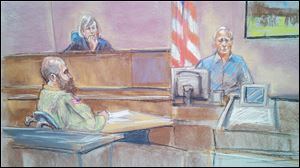 In this courtroom sketch defense witness Stephen Bennett, right, testifies as Maj. Nidal Malik Hasan, left, and presiding judge Col. Tara Osborn look on in court during Hasan's court-martial in Fort Hood, Texas Tuesday.