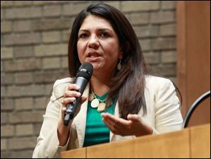 """It is too often that we say funding is the reason that we cannot provide better and responsive services to our citizens,"" Lucas County Auditor and mayoral candidate Anita Lopez said."