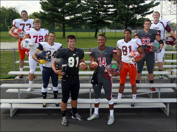 SPT FBtabcover28 committments From left, are Southview's Ryan Stout, Patrick Henry's Colt Pettit, Whitmer's Marcus Elliot, Perrysburg's Nate Patterson, Central Catholic's DeShone Kizer, Southview's Nate hall, Central Catholic's Zach Harmon, and Genoa's Michael Deiter.