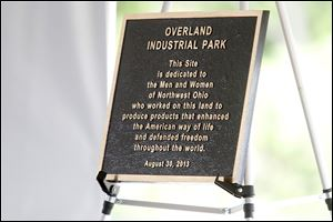 A plaque dedicating the old Overland smokestack to Jeep workers was un