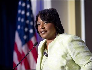 Rev. Bernice King, the daughter of civil rights leader Martin Luther King Jr., speaks during a