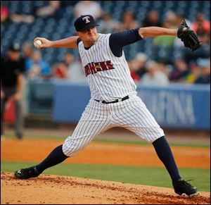 Mud Hens pitcher Jon Link throws against Indianapolis.