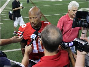 Ohio State Buckeyes linebacker Ryan Shazier (10) speaks to the media during Ohio State Football media day.