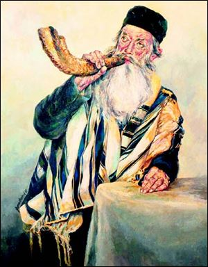 The shofar, or ram's horn, is blown by a cantor much like a trumpet during Rosh Hashanah and at other times.