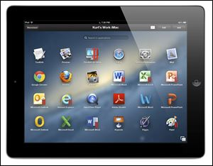 The Parallels Access app is shown on an iPad, accessing a Mac. The app lets a user connect from a tablet to a home or office computer.