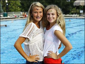 Skylar Crandell, 15, left, and Sammi Klinger, 15, pictured during the Kids for Kids pool party fundraiser.