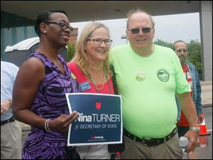 State Sen. Nina Turner D-Cleveland, candidate for Ohio secretary of state, left, Polly Taylor Gerken, candidate for Toledo Public School board, and George Tucker, president, Northwest Ohio Area Labor Federation.