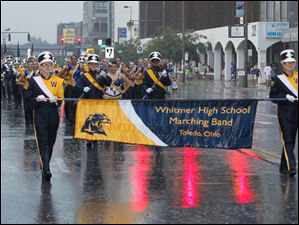 The Whitmer High School band near the front of the parade.