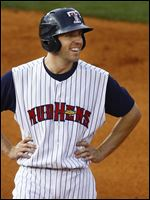 Toledo's Danny Dorn smiles after hitting a double.