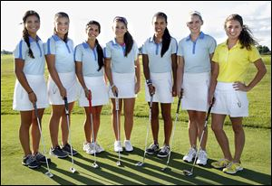St. Ursula is looking to return to the state golf tournament with, from left, Jessica Antypas, Monica Torda, Emily Antypas, Katheryn Young, Lizzie Win, Sabrina Coffman, and Caroline Lewandowski. The Arrows have reached the state tournament nine times in 12 years.