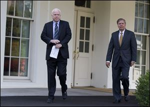 Sen. John McCain, R-Ariz., left, and Sen. Lindsey Graham, R-S.C., leave the White House in Washington, Monday following a closed-door meeting with President Obama to discuss the situation with Syria.