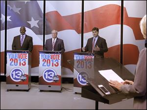 Mayoral candidates Anita Lopez, Mayor Mike Bell, D. Michael Collins and Joe McNamara during debate at Channel 13 ABC News in Toledo, Ohio. Moderator is Diane Larson.