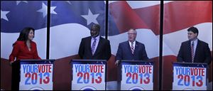 Mayoral candidates Anita Lopez, Mayor Mike Bell, D. Michael Collins and Joe McNamara  during debate at Channel 13 ABC News in Toledo, Ohio.