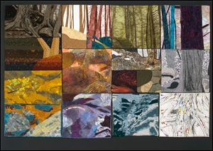 'Hocking Hills: Fiber Reflections,' is a 50-by-38-inch fiber and mixed-media piece by Sharon Hammer Baker, Deborah Bewley, Gerry Brock, Linda Dove, Judy Kahle, Patty Kehoe, Susan Krueger, Pamela MacGregor, Frances Parry, Letty Roller, and Connie Stark. The work is based on a photo by David Bewley.