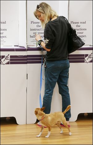 Ainslie Maher keeps an eye on her dog Sanchez as she fills in her ballot today at a polling booth at Bondi Beach in Sydney.