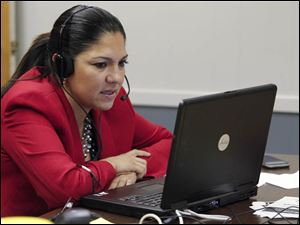 Toledo mayoral candidate Anita Lopez works the phones at the Teamster's Hall.