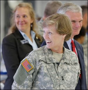 Adjutant General Deborah Ashenhurst during a ceremony honoring  the many  men and women of the 180th Fighter Wing for an overseas deployment in Africa and Jordan Sunday, 09/08/13, in Toledo, Ohio.
