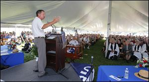 Gov. John Kasich speaks during a ceremony commemorating the 200th anniversary of the Battle of Lake Erie, Tuesday, Sept. 10, 2013.