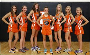 Liberty Center is looking to capture a third consecutive Division III state girls cross country championship with, from left, Emma Babcock, Cheryl Davenport,  Olivia Kundo, Brittany Atkinson, Paige Chamberlain, Sara Knapp, and Jenna Vollmar.