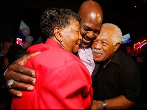 Mayor Mike Bell celebrates winning the primary election with his parents Ora M. Bell and Norman A. Bell Sr.