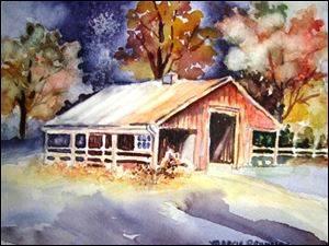 Marcie Reynolds' watercolor 'Turley Road, Forgotten Barn' is among the works in PRIZM's fall show at the Way Public Library in Perrysburg.