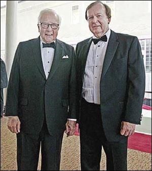 Pulitzer Prize-winning author David McCullough, left, and Clyde Scoles, library director, during the 175th anniversary gala of Toledo-Lucas County Public Library.