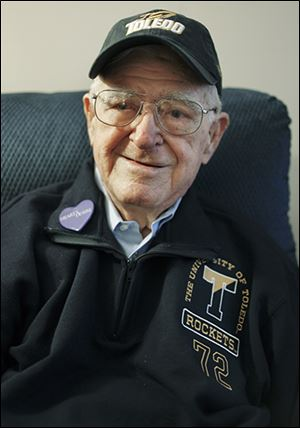 John Burkhart attended the first University of Toledo football game at the Glass Bowl in 1937.