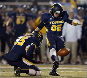 University of Toledo kicker Jeremiah Detmer has made 22 consecutive field goals for the Rockets. He can break Alex Steigerwald's team record of 23 straight with two more successful kicks.