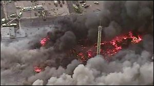 This image from aerial video shows a raging fire in Seaside Park, N.J. on Thursday.