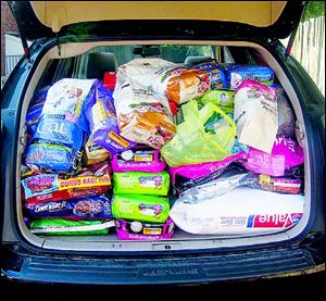 Dog and cat food is collected at the annual Pets in Poverty fair at the Church of St. Andrew.