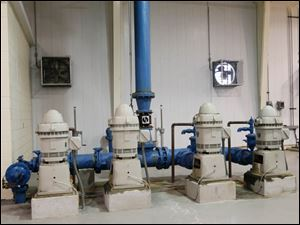 The high service water pumps which pump the clean water from the plant into distribution. They are currently turned off, due to the toxin.