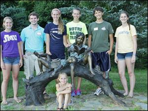 From left: Kerri Somers, James Coyle, Christy Ohlinger, Amy Ohlinger, Matthew Coyle, Hannah Somers, and front: Katie Bissell.
