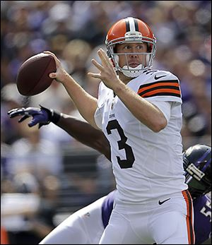Brandon Weeden sprained his thumb on Sunday when he hit it on a helmet.