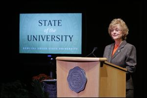 Bowling Green State University President Mary Ellen Mazey gives her 2013 State of the University address in the Donnell Theatre at the Wolfe Center for the Arts in Bowling Green, Tuesday, September 17, 2013.