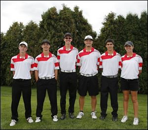 Wauseon is aiming to return to the Division II state tournament this season with, from left, Trevor Dominique, Brady Rupp, David Williams, Clay Tefft, Tyler Clawson, and Anna Marshall. The Indians placed eighth at state last year.
